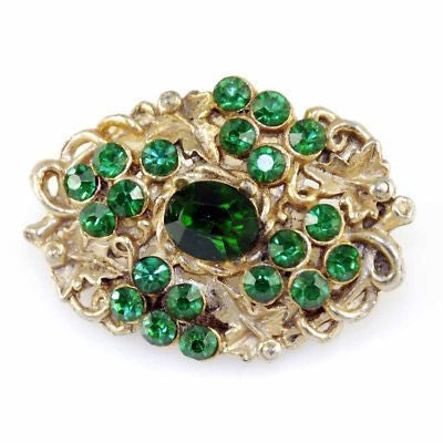 Vintage Goldtone  Brooch With Green Rhinestones Paste 1930S