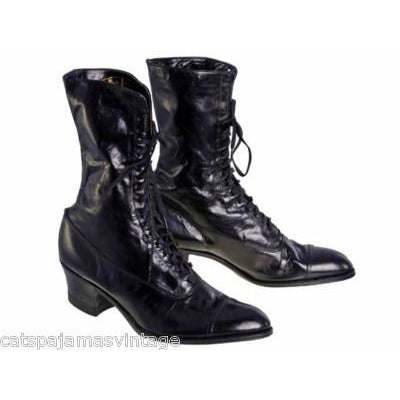 Antique Leather Boots Black Victorian Kid  Walk Over NIB #3 Womens Size EU37 US 6.5 - The Best Vintage Clothing  - 1