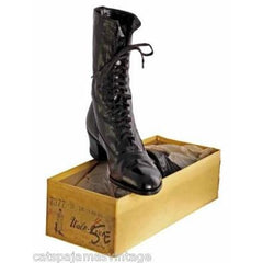 Antique Leather Boots Black Victorian Kid  Walk Over NIB #3 Womens Size EU37 US 6.5 - The Best Vintage Clothing  - 2