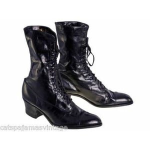 Ladies Black Victorian Kid Leather Boots Walk Over NIB#4  Size EU 36 US 6 NICE - The Best Vintage Clothing  - 1