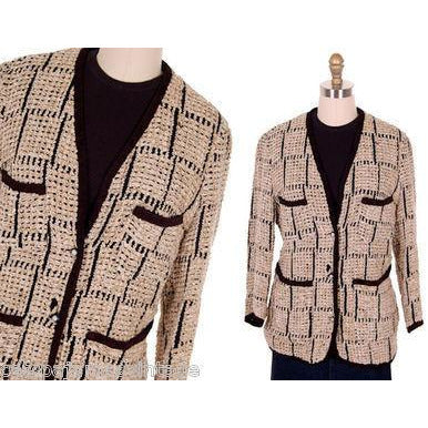 Ladies Blazer Chenille Black/Taupe Bestini Paris Large - The Best Vintage Clothing  - 1