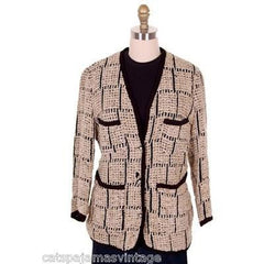 Ladies Blazer Chenille Black/Taupe Bestini Paris Large - The Best Vintage Clothing  - 3