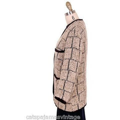 Ladies Blazer Chenille Black/Taupe Bestini Paris Large - The Best Vintage Clothing  - 2