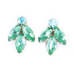 Vintage Lime & Turquoise Rhinestone Clip-On Earrings 1950'S - The Best Vintage Clothing  - 1