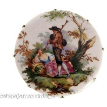 S.D. Baker  Samson China Brooch Hand Painted Scenic Courting Couple 1930s - The Best Vintage Clothing  - 1