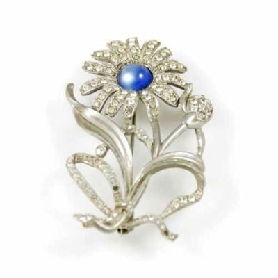 Vintage Silvertone Daisy Brooch Blue Cabochon Center 1930'S - The Best Vintage Clothing  - 1