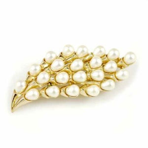Vintage Signed Trifari Crown Goldtone/Pearl Spray Brooch 1940'S - The Best Vintage Clothing  - 1