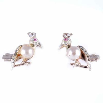 Two Vintage Bird Scatter Pins W/Faux Pearls 1950'S