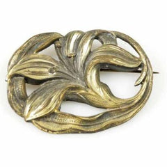 Victorian Art Nouveau Bronzetone Lily Brooch 1915 - The Best Vintage Clothing  - 1