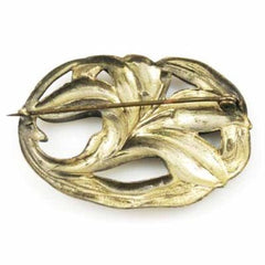 Victorian Art Nouveau Bronzetone Lily Brooch 1915 - The Best Vintage Clothing  - 2