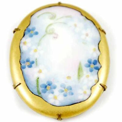 Victorian Hand-Painted Porcelain Floral Brooch Large