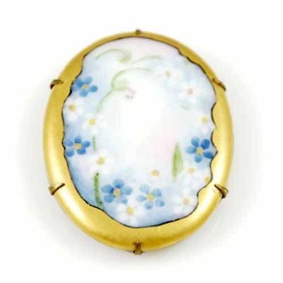 Victorian Hand-Painted Porcelain Floral Brooch Large - The Best Vintage Clothing  - 2