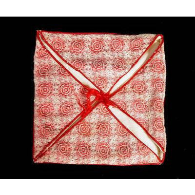 Victorian Hanky Case Bobbin Lace Overlay Red & White Silk
