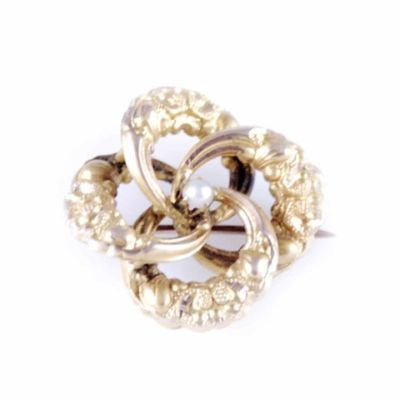 Victorian Natural Pearl/Gold Engraved Swirl Pin - The Best Vintage Clothing  - 1