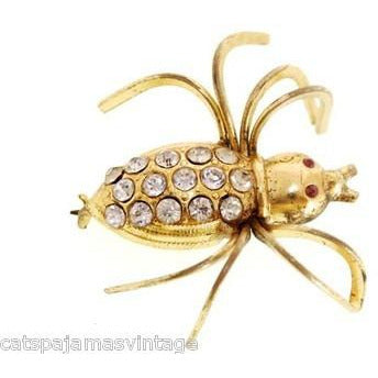 Vintage  Beetle Insect Bug Brooch w/ Rhinestones 1940s Large - The Best Vintage Clothing  - 2
