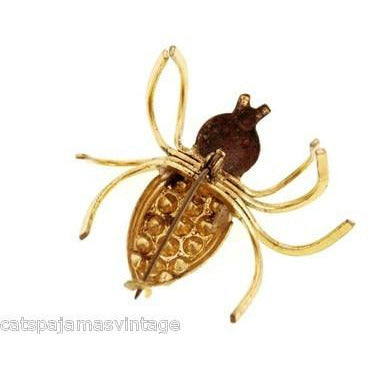 Vintage  Beetle Insect Bug Brooch w/ Rhinestones 1940s Large - The Best Vintage Clothing  - 3