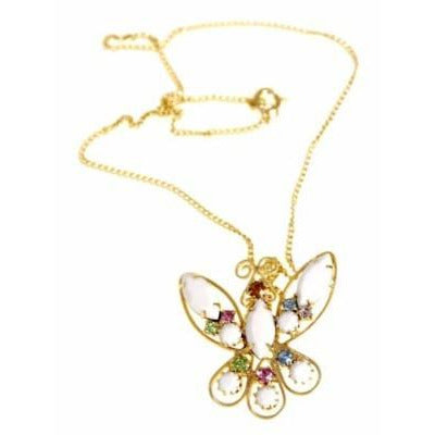 Vintage  Filigree Butterfly Necklace/Delicate Chain 1960S