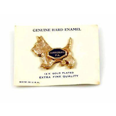 Vintage  Scotty Dog 14K Plate Pin On Orig Card Souvenir - The Best Vintage Clothing  - 1