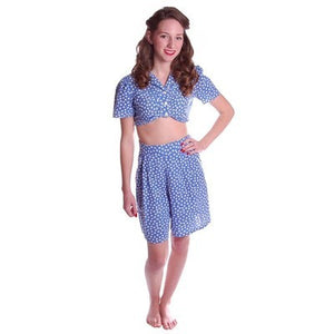 Vintage 2 Pc Blue Polka Dot Cotton  Shorts/CropTop 1940S Small - The Best Vintage Clothing  - 1