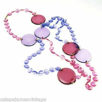 "Vintage Acrylic Mod Purple Discs Necklace  1970S 68"" Long - The Best Vintage Clothing  - 1"