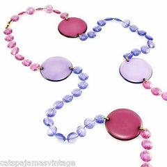 "Vintage Acrylic Mod Purple Discs Necklace  1970S 68"" Long - The Best Vintage Clothing  - 3"