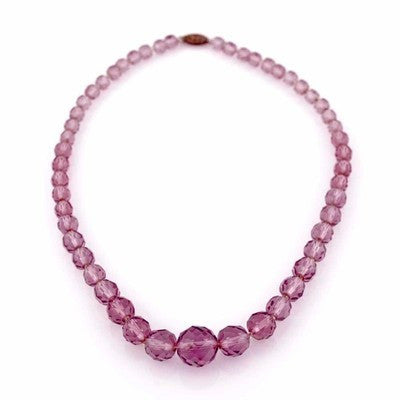 "Vintage Amethyst Crystal Necklace 17"" Graduated 1940S - The Best Vintage Clothing  - 1"