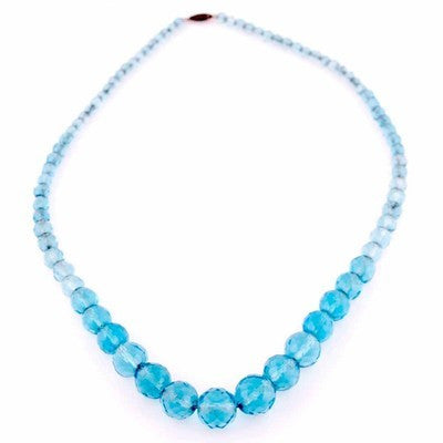 "Vintage Aqua Crystal Necklace 22"" Graduated 1940S - The Best Vintage Clothing  - 1"