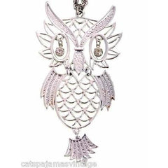 Vintage Articulated Owl Pendant Necklace Silver Tone Rhinestone Eyes 1970s Large - The Best Vintage Clothing  - 3