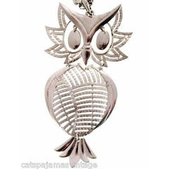 Vintage Articulated Owl Pendant Necklace Silver Tone Signed Alan 1970s Large - The Best Vintage Clothing  - 3