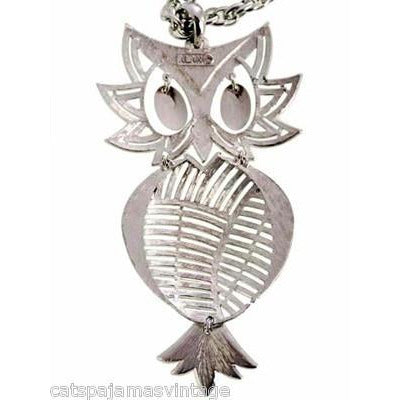 Vintage Articulated Owl Pendant Necklace Silver Tone Signed Alan 1970s Large