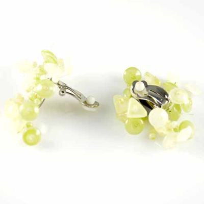 Vintage Atomic Yellow Green Glass Clip-On Earrings 1950'S - The Best Vintage Clothing  - 3