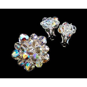 Vintage Aurora Borealis Fire Crystal Brooch + Earrings 1950S - The Best Vintage Clothing