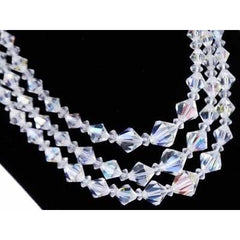 Vintage Aurora Borealis Diamond Cut Crystal Necklace Triple Strand 1950S - The Best Vintage Clothing  - 2