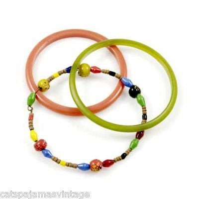 Vintage Bangle Bracelets (3) Celluloid Coral/Apple Green 1930S