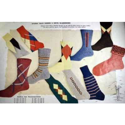 Vintage Bear Brand Knitting Book Argyle Socks 1950 39 Pages of The Coolest Socks! - The Best Vintage Clothing  - 2