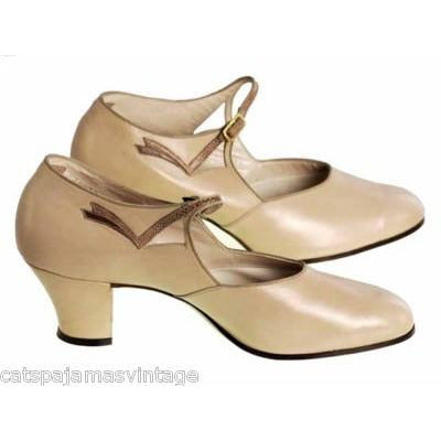 Vintage Beige Leather Mary Jane  Heel 1920s NIB WALK OVER EU 36 US Ladies Sz 6N - The Best Vintage Clothing  - 1
