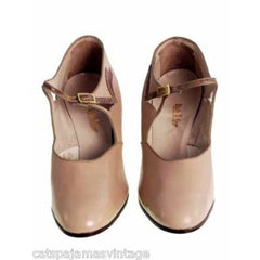 Vintage Beige Leather Mary Jane  Heel 1920s NIB WALK OVER EU 36 US Ladies Sz 6N - The Best Vintage Clothing  - 2