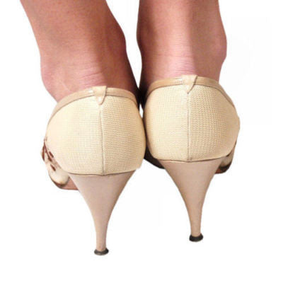 Vintage Beige Mesh High Heel Pumps Delman 1950S - The Best Vintage Clothing  - 4