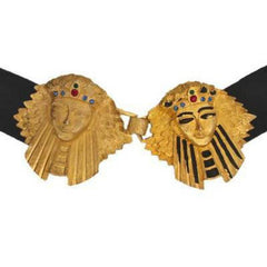 Vintage Belt Black Suede Large  Egyptian King Queen Jeweled Buckle 1950S - The Best Vintage Clothing  - 1
