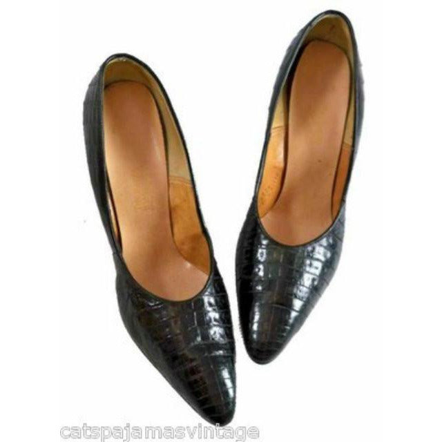 Vintage Womens Shoes Black Alligator Stiletto Heels Pumps The Balta Size 9 1950s - The Best Vintage Clothing  - 1