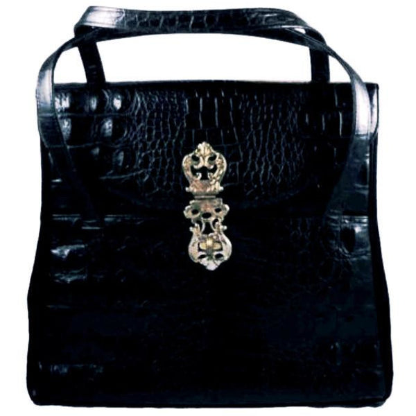 Vintage Black Faux Alligator Handbag Large Murray Kruger 1970s - The Best Vintage Clothing  - 2
