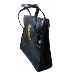 Vintage Black Faux Alligator Handbag Large Murray Kruger 1970s - The Best Vintage Clothing  - 1