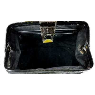 Vintage Black Faux Croc Satchel  Purse Amelia Berko 1970'S X large - The Best Vintage Clothing  - 3
