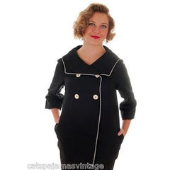 Vintage 1960s Swing Jacket Black w White Piping 1960s Elisabeth Stuart 36 Bust - The Best Vintage Clothing  - 1