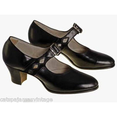Antique Shoes Mary Janes  Black Leather 1920s WALK OVER NIB Size EU37 6.5 US - The Best Vintage Clothing  - 1