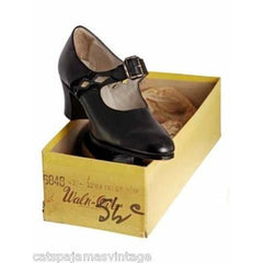 Antique Shoes Mary Janes  Black Leather 1920s WALK OVER NIB Size EU37 6.5 US - The Best Vintage Clothing  - 2