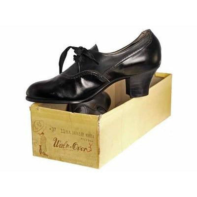 Vintage Black Leather Tie Oxfords 1920S  NIB Slenderfoot  Arch Fitter 5.5 B/D