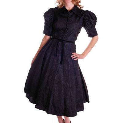 Vintage Black Moiré Dress Huge Sleeves Late  1930S 36-28-FREE - The Best Vintage Clothing  - 1
