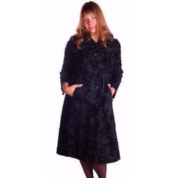Vintage Black Broadtail Lamb Fur Coat George Bernard 1970S Med - The Best Vintage Clothing  - 1