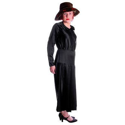 Vintage Black Silk Satin Day Dress 1920s Zip Front  41-32-41 - The Best Vintage Clothing